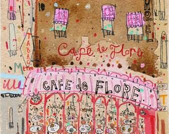 PARIS CAFE De FLORE, Paris Cafe Art Sketch, French Cafe Signed Art Print, Pen Watercolour Painting, Patisserie Pink, Boulevard Saint Germain