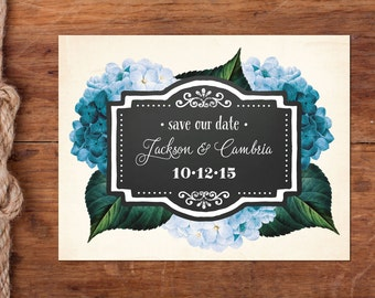 Blue or Blush Hydrangea Vintage Save-the-Date Postcard