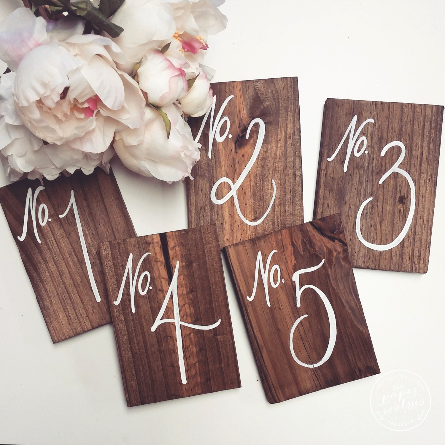 Wedding table numbers rustic wooden wedding by thepaperwalrus for Table numbers