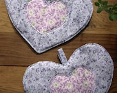 RESERVED Vintage 40s Printed Floral Hot Pads with Purple Daisy and Violet Prints