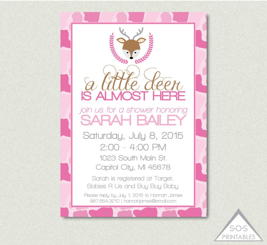 pink camo deer baby shower invitation a little by sosprintables