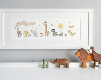 FRAMED Safari Animal Art, Neutral Baby Art, Unisex Nursery Art, Children's Picture, Long Framed Print, perfect for, New Baby Gift