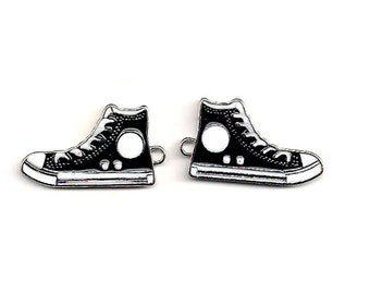 Charm, black enamel sneaker, 30x17 mm double-sided, Sold in pairs, Basketball shoe charm, High Top Charm, Black Sneakers, High Top, ENA060