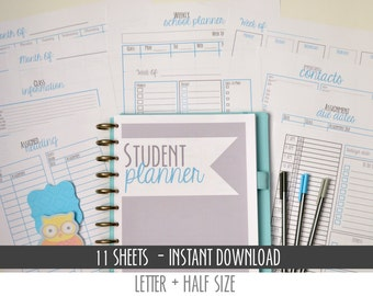 50% OFF College Student Planner, Printables, Letter Size + Half Size Included, 11 Pages each, Instant Download, Editable/Fillable, BLUE