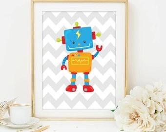 Gray Chevron Nursery art toy Robot Art Printable, 8x10 Instant Download, Digital File Printable Art, Baby boy nursery printable
