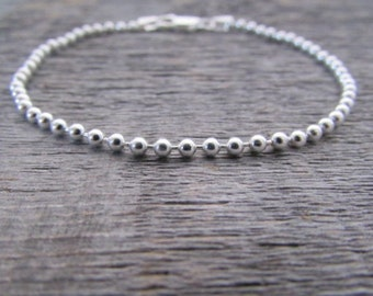 Sterling Silver Ball Chain Bracelet, 7 Inch Chain, 2mm Chain, Bead Chain Bracelet, Italian 925 Silver Chain, Silver Bead Bracelet