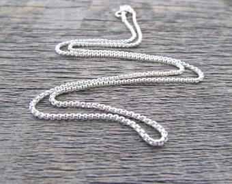 Sterling Silver Box Chain, 3.5 mm Chain, 30 Inch Chain, Sterling Silver Chain, 925 Chain, Italian Silver Chain, Round Box Chain