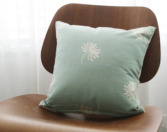 """16""""x16"""" Light Teal Embroidered Dandelion Throw Pillow Cover"""