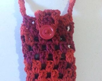 Cell Phone Holder Necklace--Varigated Reds
