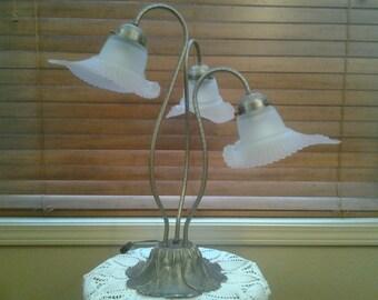 On Sale Pewter Three Light Lily Lamp