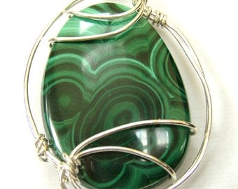 Malachite and silver Pendant