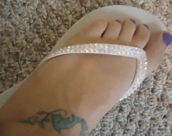 Crystal Covered Flip Flops With Opal AB Crystals On A White Base