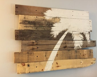 "Beach Decor Palm Tree Rt Lean 32"" x 21"" Natural Color"