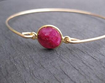 Genuine Raw Ruby Gemstone Bangle Bracelet on a 14k Gold Bangle Band, Birthstone Bangle, January Birthstone, July Birthstone, Ruby Jewelry