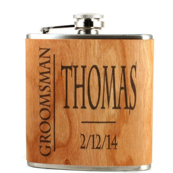 Cool Wedding Gifts For Groomsmen : Real wood flask groomsmen gift ideas unique wedding