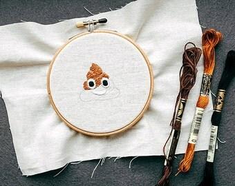Embroidery pattern for poop emoji
