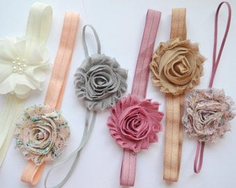 Shabby chic Set baby headband set of 6 headbands, newborn headband, infant headbands, baby hair bow, baby shower gift, vintage baby headband