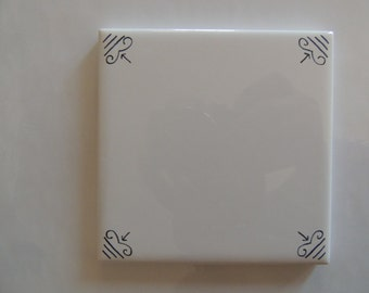Black and White Tile  Decoration Delft Style Tiles.