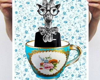 Giraffe In A Cup : Art Print Poster A3 Illustration Giclee Print Wall art Wall Hanging Wall Decor Animal Painting Digital Art