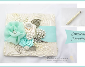 Wedding Lace Guest Book Pen Set Custom Jeweled Bridal Flower Brooch Guest Books Beaded Birthday Guest Book in Ivory and Aqua Mint
