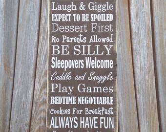 "Mother's Day Grandma Gift - Grandma's Rules - Grandma's House Rules Sign - 7.25""x21"" - Grandmother Gift - Nana Gift - Gift for Her - Grandma"