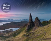 Mountains and stars trails. Landscape Photography Print with mount card. Isle of Skye. The Storr, Scotland. Scottish. Old Man of Storr