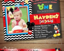 Black Chevron Mickey Mouse Invitation, Mickey Birthday Invitation, Mickey Mouse Clubhouse, Photo Invitation, Mickey Party Printable Chevron