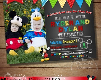 YOU CHOOSE Mickey Minnie Twins Birthday Invitation, Twins Siblings Clubhouse Mickey Minnie Invitations, Invitations For Twins or Siblings