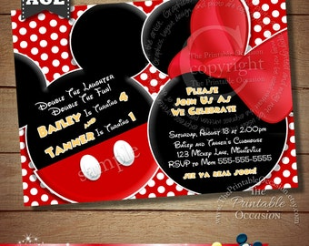 HUGE SELECTION Mickey Mouse Invitation For Twins, Minnie Mouse Siblings Invitation For Twins, Mickey And Minnie Mouse Invitations