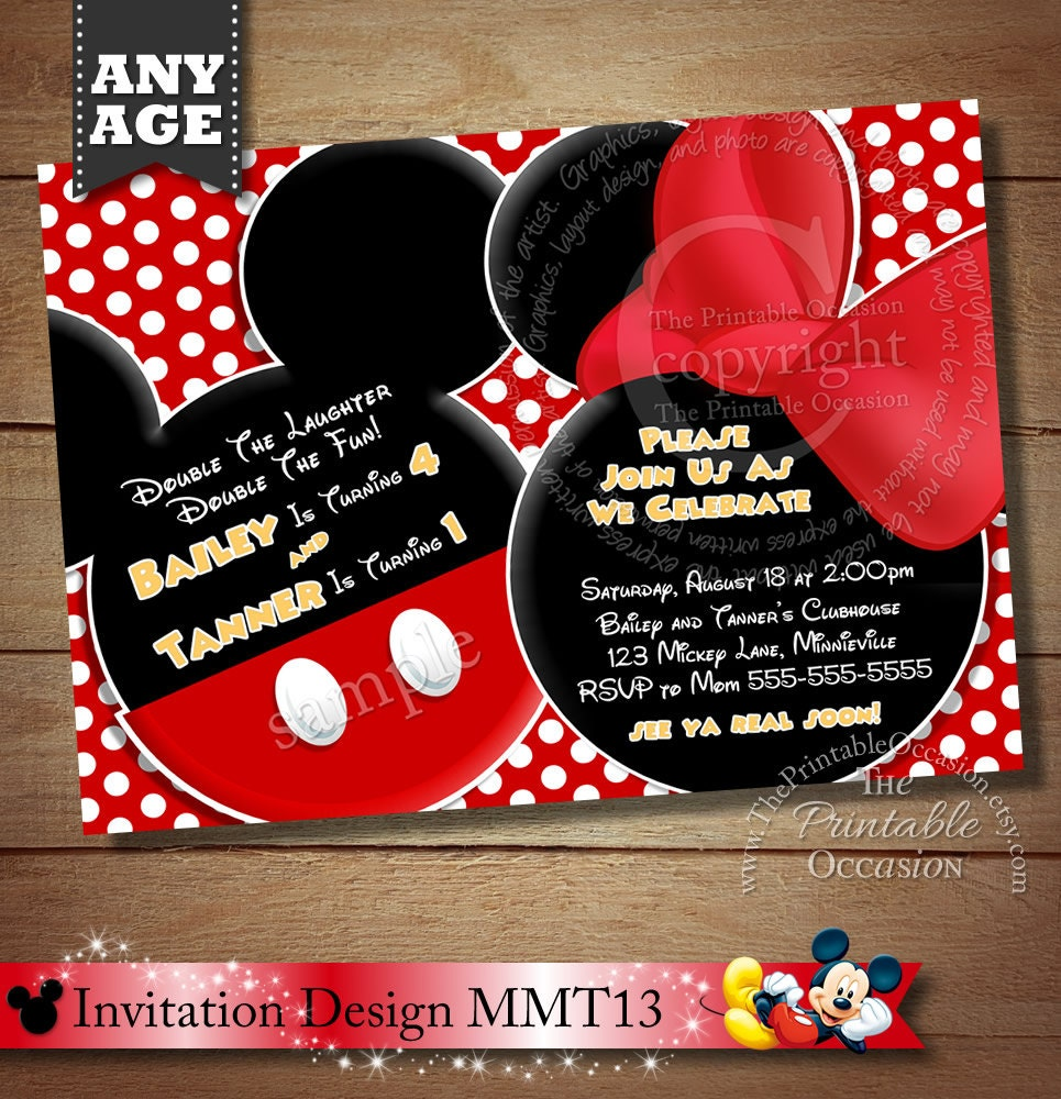 HUGE SELECTION Mickey Mouse Invitation For Twins Minnie Mouse