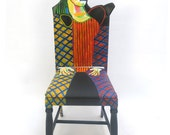 Picasso Femme au beret Rouge upcycled chair painted by Artist Todd Fendos