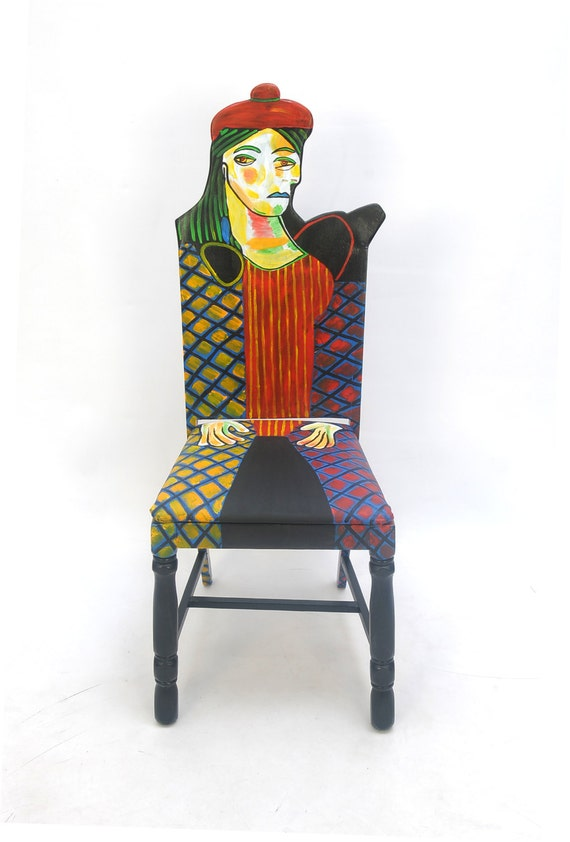 picasso femme au beret rouge upcycled chair painted by artist. Black Bedroom Furniture Sets. Home Design Ideas