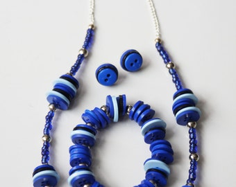 Blue Button Jewelry Set, Dark Blue Button Jewelry, Blue Button Necklace, Blue Button Stud Earrings, Blue Button Stretch Bracelet Set,