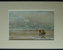 Print of Cockle Pickers on Lancaster Sands by Thomas Collier Lancashire beach art, English coastal decor - Seaside Picture - British Coast