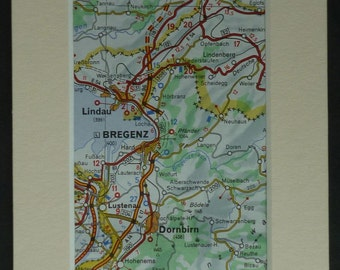 Vintage Mounted Map of Bregenz and the Surrounding Area, Road map of Austria, retro Austrian decor, 1980's vintage map, old map wall art