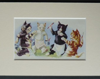 1950s Vintage AE Kennedy Print of Painting Cats Retro Cute Kittens Nursery Art - Available Framed - Cat Print - Retro Cat Gift - Artist Gift
