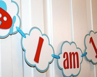 Airplane I am 1 Banner / Birthday Banner / Highchair Banner