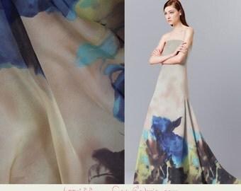 Designer Floral Pure Silk Chiffon fabric,Summer Fashion Printed Silk Shawls & Scarves Fabric,silk fabric by the yard,1m-XF43761524596