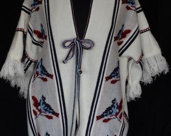 1970s Sweater / Ivory Boho Hippie Folk Mexican Southwesten Fringe Trimmed Sweater