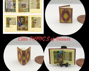 Miniature Book -- BOOK of HOURS - The Hours of Jeanne d'Evreux Miniature Book Dollhouse 1:12 Scale Vibrant Illuminated Book