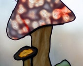 Mushroom duo stained glass suncatcher - Oceana glass mushroom and natural agate  mushroom pair