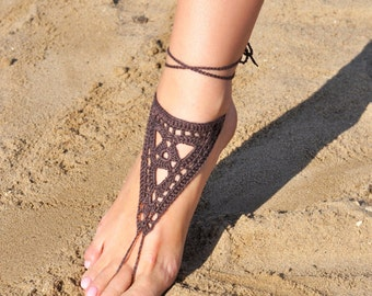 Crochet Brown Barefoot Sandals, Foot jewelry, Bridesmaid gift, Barefoot sandles, Beach, Anklet, Wedding shoes, Beach Wedding, Summer shoes