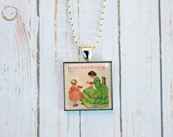Good Housekeeping Magazine Cover,  Vintage Good Housekeeping Cover, Vintage Magazine Cover, Knitting Necklace,  Knitting Jewelry,