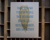 """Beard Poster Letterpress Printed in Tan and Blue on Kraft Brown Card Stock, """"There are two types of people who go around beardless"""""""