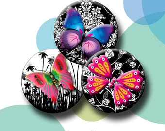 """BRIGHT BUTTERFLIES - Digital Collage Sheet - 30 x 1.313"""" circles for 1 inch button images. Instant Download #68."""