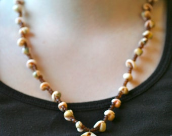 Beaded Mother of Pearl Necklace with Shells