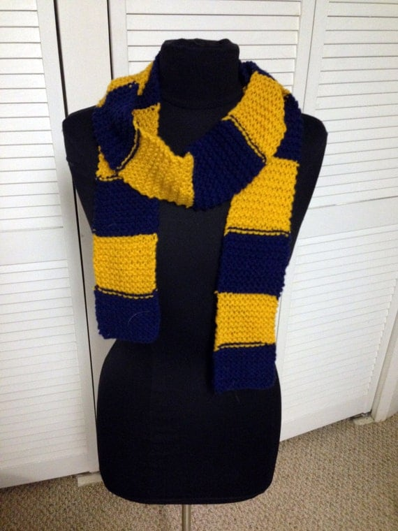 Knitted scarf in Ravenclaw colors by APairofPearls on Etsy