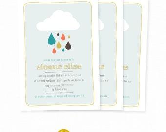 Raindrop Shower Invitation Baby Shower Raindrop Umbrella Shower Invite. Custom Printable baby Shower Invitation. Rain Drop Shower Party