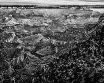 Grand Canyon Photo, Nature Landscape Photography, Black and White Nature, Minimalist Landscape, Nature - 8x12 fine art photograph