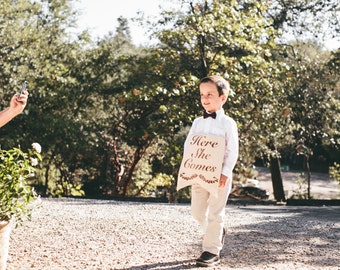 Reversible Ring Bearer Sign Here She Comes The New Mr and Mrs